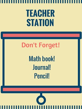 Math Station Signs and Posters