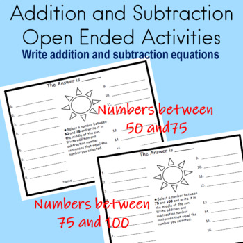 Addition and Subtraction Math Station Open Ended Activities