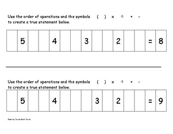 Math Station: Order of Operations and Number Sense