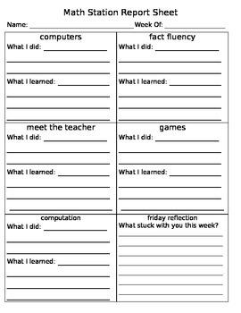 Math Station Report Sheet