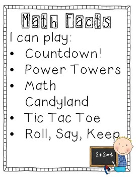 "Math Station Reuseable ""I Can"" lists and jungle numbers"