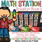 Math Station Rotation Board: Printable, Digital,  Editable