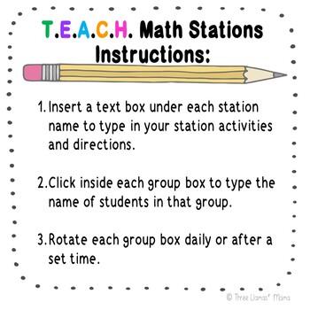Math Station Rotation Chart: Editable PowerPoint