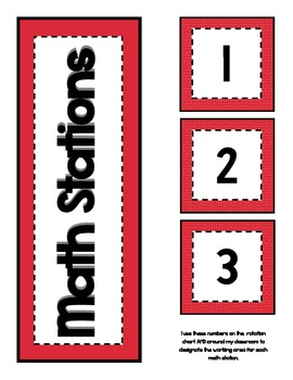 Math Station Rotation Chart Freebie