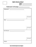 Math Station Sheet