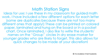 Math Station Signs
