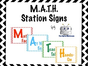 Math Station Signs - Chevron