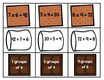 Math Station: S'more Multiplication Match SAMPLE