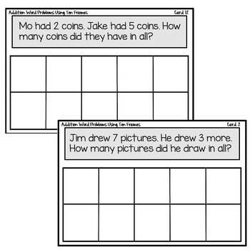 Math Station | Ten Frame Addition Word Problems Task Cards