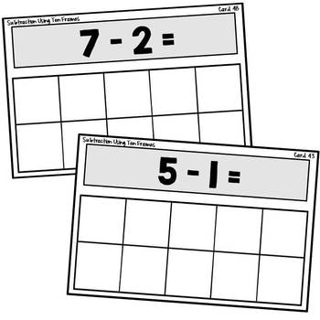 Math Station | Ten Frame Subtraction Task Cards
