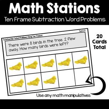 Math Station | Ten Frame Subtraction Word Problems Task Cards