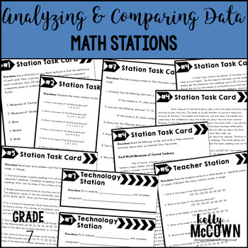 Middle School Math Stations: Analyzing & Comparing Data