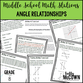 Math Stations: Angle Relationships in Parallel Lines and T