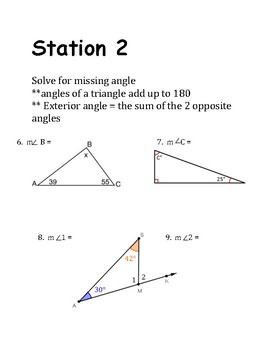 Math Stations: Angles, Triangles and transversal