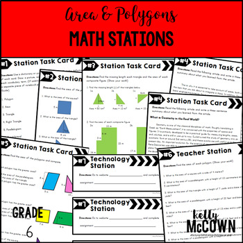 Middle School Math Stations: Area & Polygons