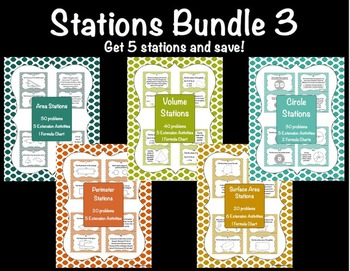 Math Stations Bundle 3  {5 stations for a discount price!}