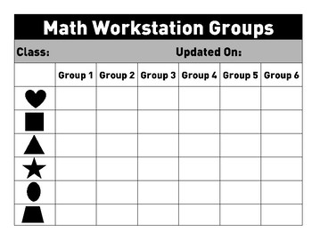 Math Stations/Centers; Guided Math Graphic Organizer