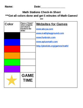 Math Stations Check In Sheet