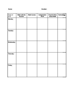 Math Stations Checklist