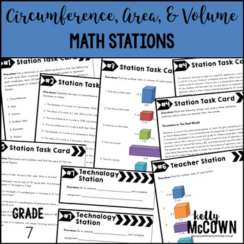 Middle School Math Stations: Circumference, Area, and Volume