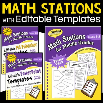 Math Stations | Math Centers | Upper Elementary (with Editable Templates)