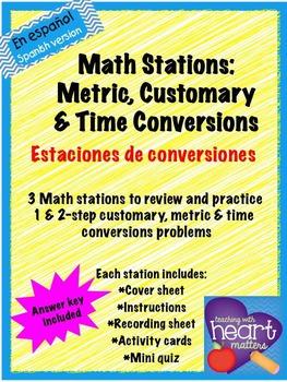 Math Stations: Conversions IN SPANISH/ EN ESPANOL