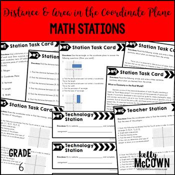 Distance Coordinate Plane Math Stations