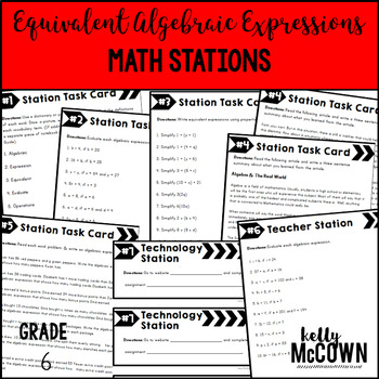 Middle School Math Stations: Equivalent Algebraic Expressions
