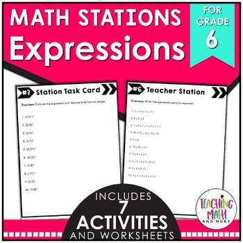 Middle School Math Stations: Equivalent Numerical Expressions
