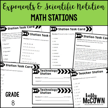 Middle School Math Stations: Exponents & Scientific Notation
