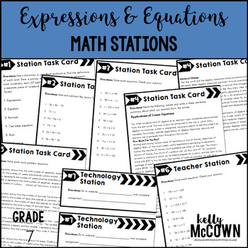 Middle School Math Stations: Expressions & Equations