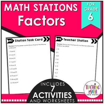 Middle School Math Stations: Factors & Multiples