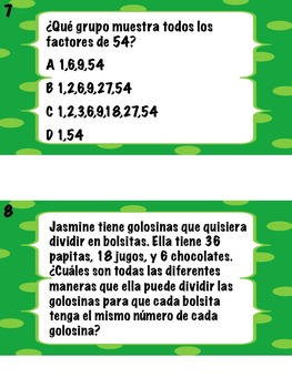 Math Stations: Factors and Primes IN SPANISH (Factores y números primos)