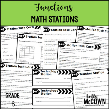 Middle School Math Stations: Functions