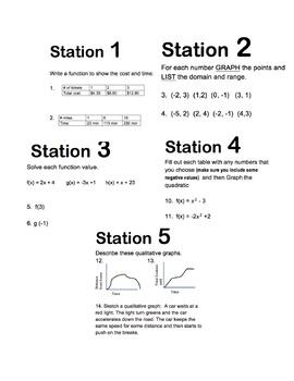 Math Stations: Functions (Algebra)