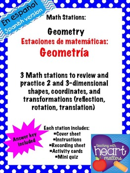 Math Stations: Geometry IN SPANISH (Centros de matemáticas: Geometría)