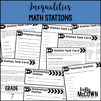 Middle School Math Stations: Inequalities