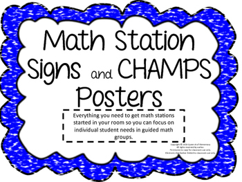 Math Stations Management Pack with CHAMPS Posters