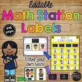 EDITABLE BRIGHT Chalkboard Math Station LABELS for Organizing Small Groups