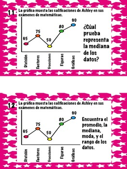 Math Stations: Mean, median, mode, and range IN SPANISH (Centros de matematicas)