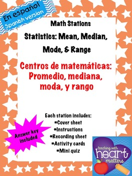Math Stations: Mean, median, mode, and range IN SPANISH (C