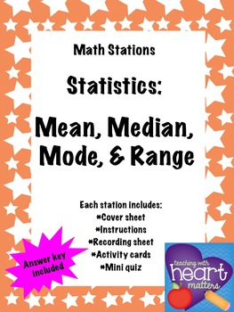 Math Stations: Mean, median, mode, and range (Statistics)