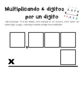 Math Stations - Multiplying 4 digits by 1 digit Practice - Dice Game - Spanish