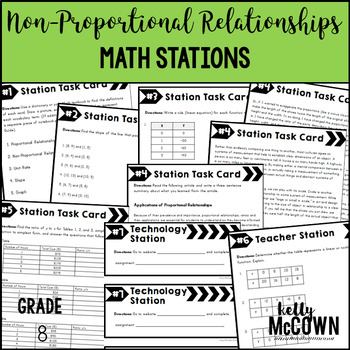 Middle School Math Stations: Non-Proportional Relationships