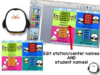 Math Stations - Penguin Themed automated powerpoint for station/center rotations