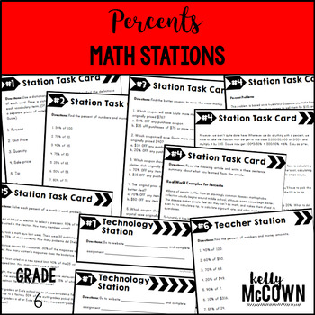 Middle School Math Stations: Percents