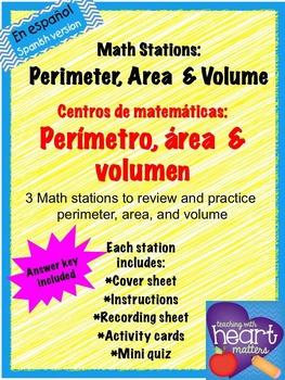 Math Stations: Perimeter, Area & Volume IN SPANISH