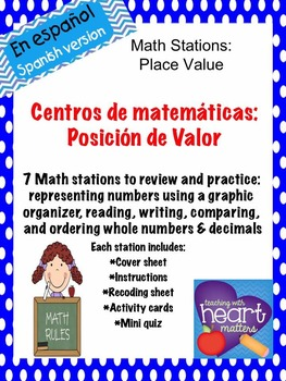 Math Stations: Place Value IN SPANISH (Centros de matemáticas)