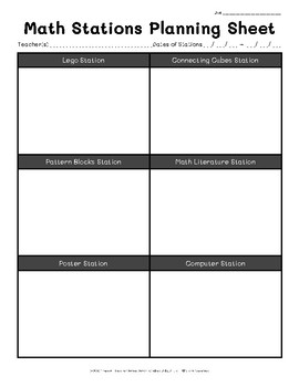 Math Stations Planning Sheets