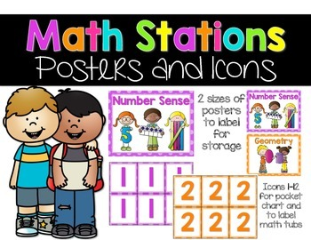 Math Stations Posters and Icons {Bright Polka Dots}